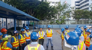Senior management attended the morning safety briefing on site